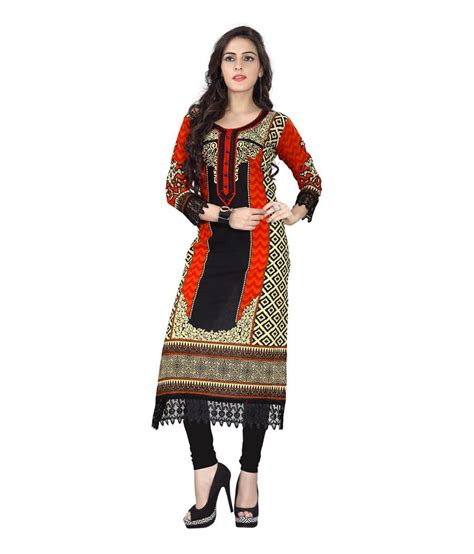 khantil orange printed cotton v khantil orange printed cotton v neck kurti buy khantil orange printed cotton v neck kurti