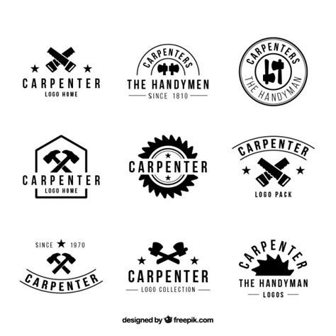 logo black and white vector nine logos for carpentry black and white vector free