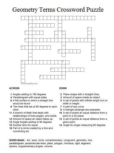 Puzzle Geometri geometry terms puzzle printable answers