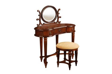 antique mahogany vanity mirror bench
