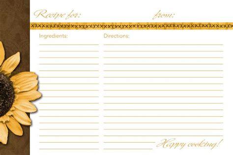 4x6 blank recipe cards 4x6 recipe card template sunflower recipe card recipe
