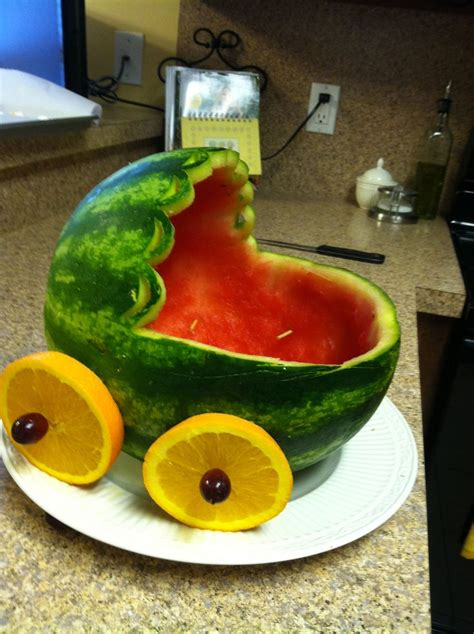 baby shower watermelon bassinet a watermelon bassinet this is what the fruit salad is