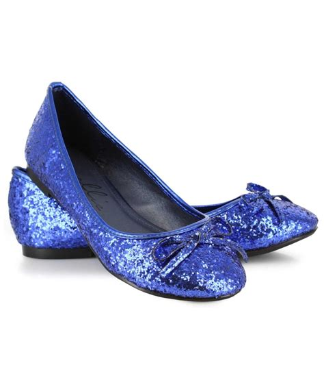 blue sparkle shoes blue glitter flats costume shoes