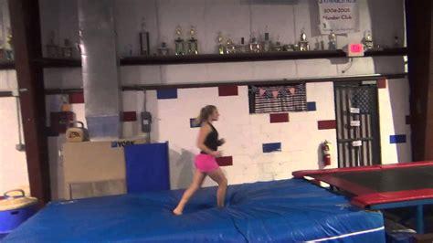 layout half gymnastics maggie and morgan front tumbling on tumbletrack