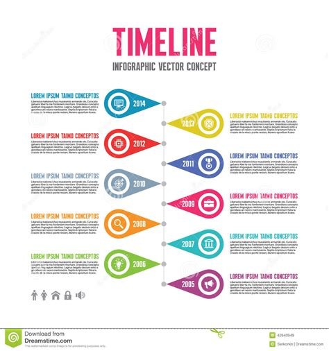 Infographic Vector Concept In Flat Design Style Timeline Template Download From Over 37 Free Infographic Templates For Students