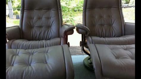 recliner hard to close stressless royal recliners khaki paloma leather youtube