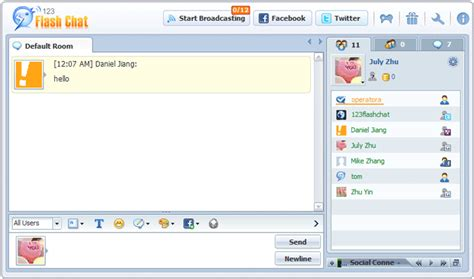 flash chat room the connection