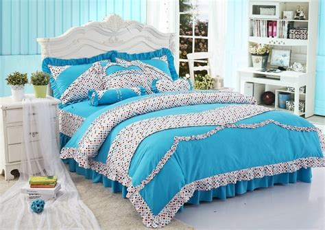 blue girl comforters blue polka dot girls princess bowtie ruffled bedding sets