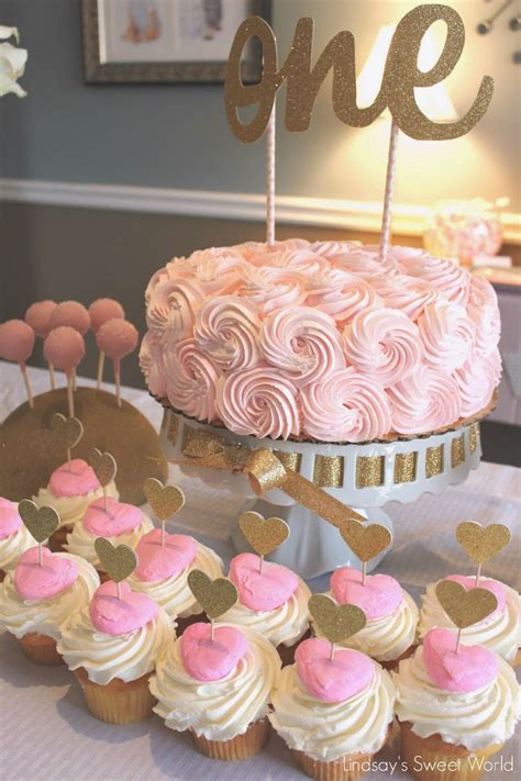 Lindsay S Sweet World Pink And Gold First Birthday Party Cupcake Centerpieces For Birthday