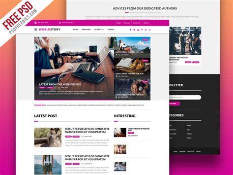 Multipurpose Magazine Blog Web Template Free Psd Psdfreebies Com Psd Website Templates Free 2017