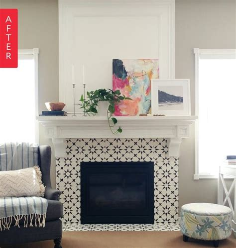patterned fireplace tiles before after from boring beige to black white beauty