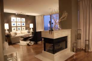 sided fireplace houses fireplace
