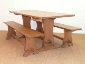 Oak Refectory Dining Table Antiques Atlas Lizardman Oak Refectory Dining Table Benches
