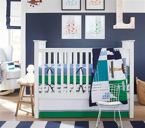 Airplane Nursery Bedding Thenurseries Pottery Barn Airplane Crib Bedding