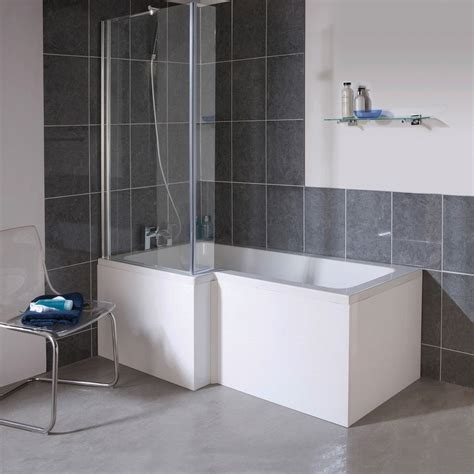 milan square 1700mm shower bath with screen mdf panel