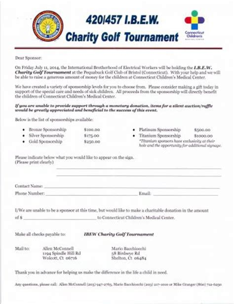 Sponsorship Letter Golf 2014 Ibew Local 420 Vs 457 Golf Tournament Ibew Local 457