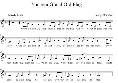 printable lyrics to you re a grand old flag starspangledbanner