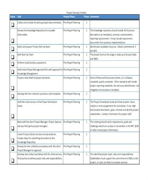Project Completion Checklist Template Threestrands Co Project Startup Template