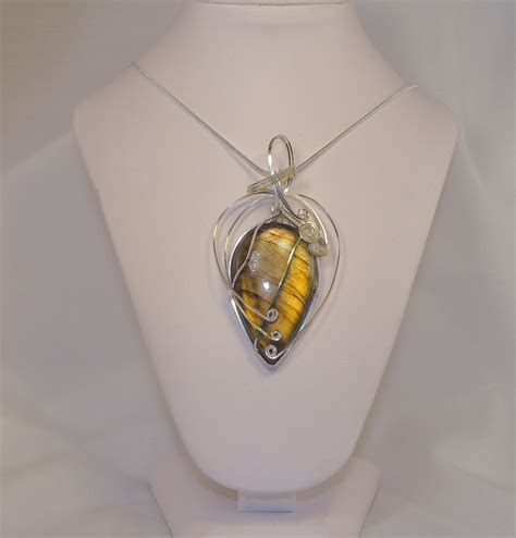 Chandelier Swag Hand Wire Wrapped Labradorite Cabochon Necklace Keith