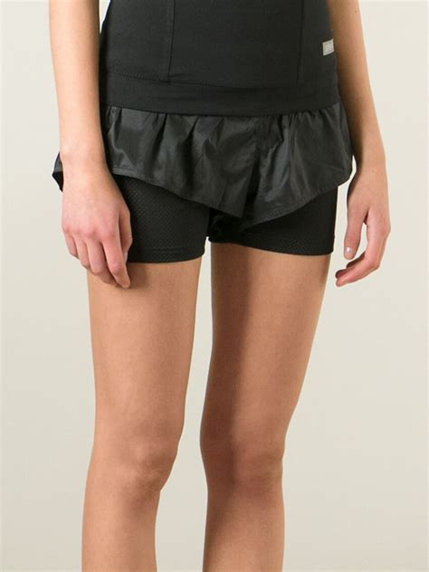 Adidas Stella Mc Cartney Running Shorts 1 lyst adidas by stella mccartney layered running shorts in black