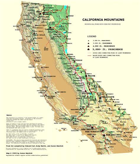 california map key california prominence map