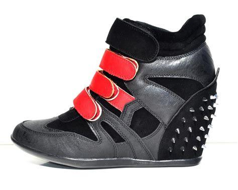 high top heel sneakers womens black faux leather high top wedge heels