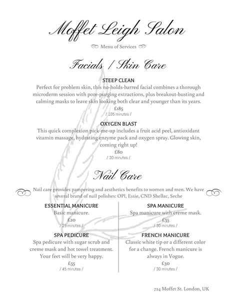 salon service menu template 28 images salon menu