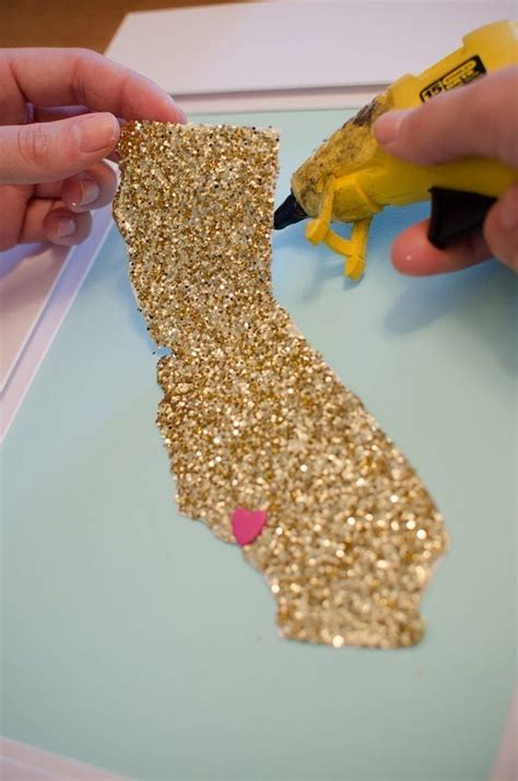 Things To Make With Paper And Glue - glitter state cut your home state out on glitter paper