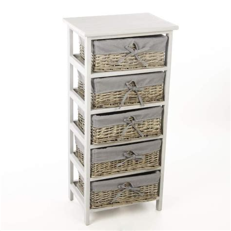 meuble tiroir panier meuble en bois 5 tiroirs paniers en osier avec housses