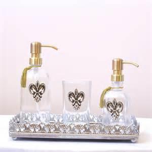 fleur de lis bathroom shabby cottage chic new fleur di lis glass tumbler with
