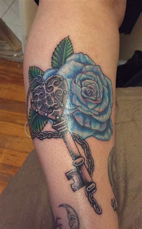 rose and key tattoo blue and key sweet artwork