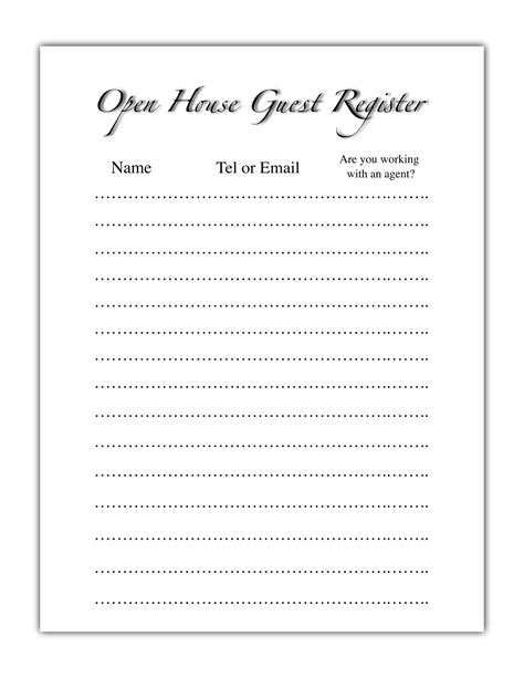 open house sign in sheet open house guest register