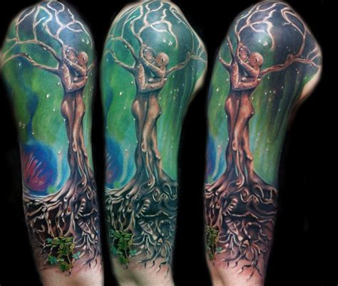 scenery tattoos green ink scenery on right sleeve