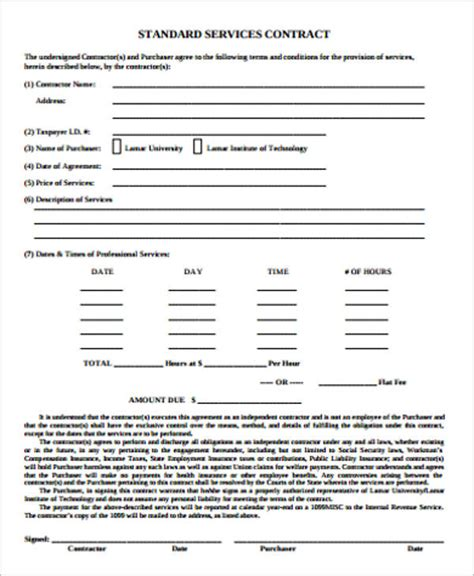 Simple Service Contract Sle 19 Exles In Word Pdf Google Docs Standard Cleaning Contract Template