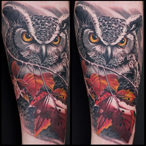 owl tattoo realism black and grey color owl tattoo by remis remistattoo