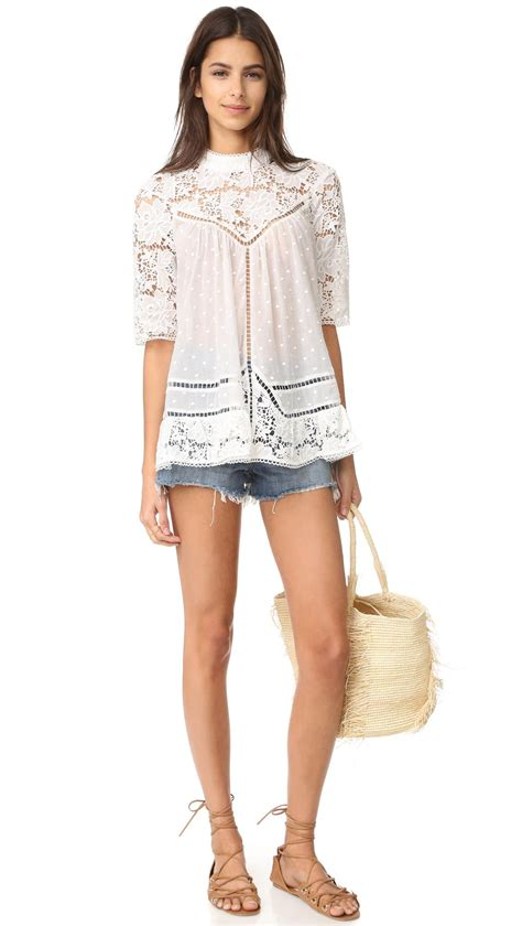Tesco Dotted Swiss Smock Top by Zimmermann Caravan Embroidered Smock Top In White Lyst