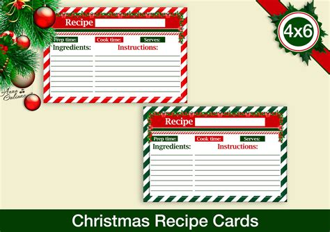 printable christmas recipe cards christmas recipe cards 4x6 recipe cards printable recipe