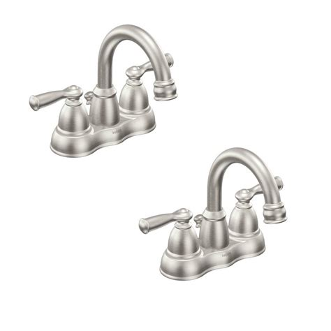 centerset bathroom faucets moen 4 in centerset 2 handle high arc bathroom faucet in brushed nickel 6410bn the home depot