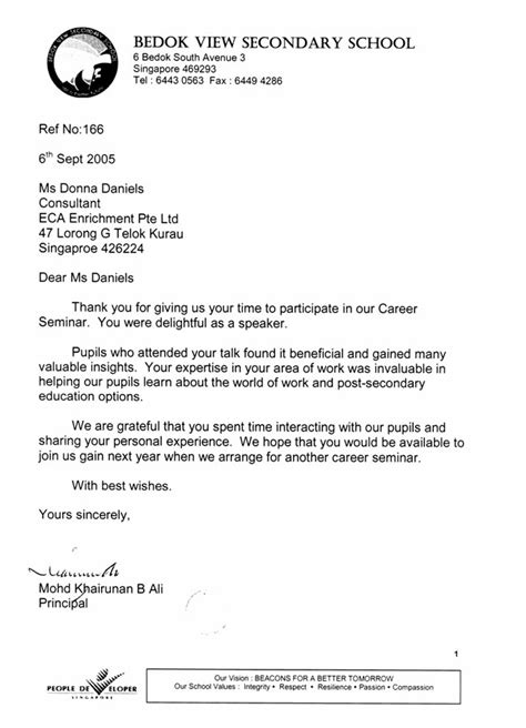 thank you letter to from principal thank you letter school principal home design idea