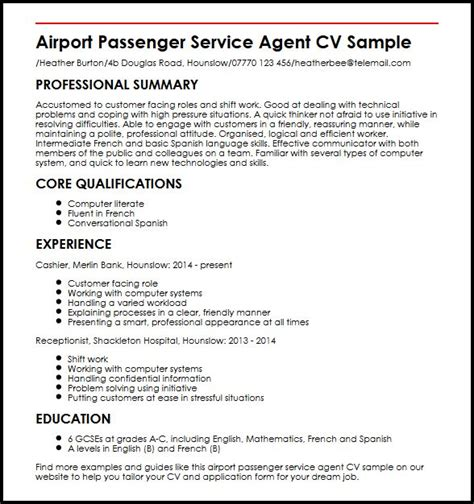 Resume Customer Service Airport Airline Passenger Service Cover Letter