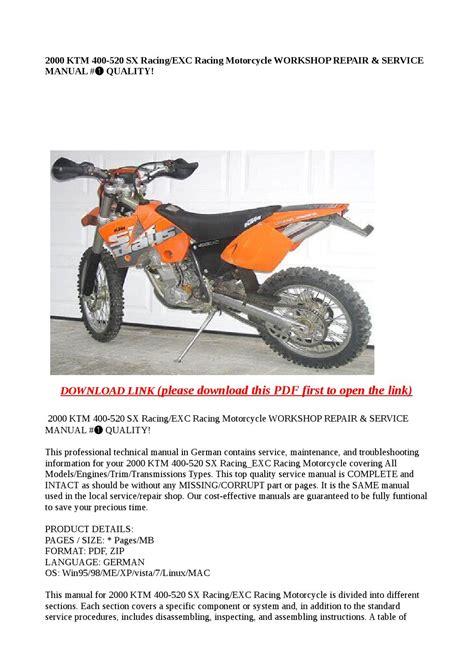 2000 Ktm 400 520 Sx Racing Exc Racing Motorcycle Workshop