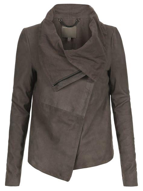 drape jacket sinoia suede drape jacket in hard grey