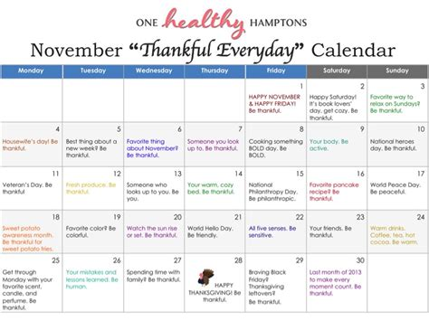 Calendar Where Everyday Is A Thankful Everyday Calendar