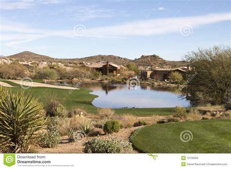 gulf landscaping scenic desert landscape at arizona golf course stock photo