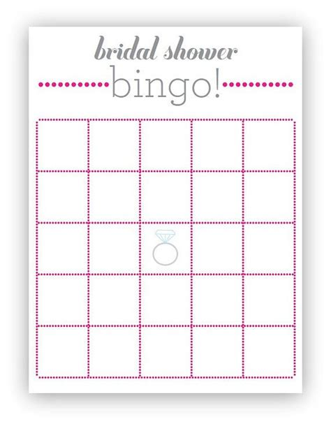 Blank Bingo Card Template For Bridal Shower by Pink Bridal Shower Bingo Card Pdf File