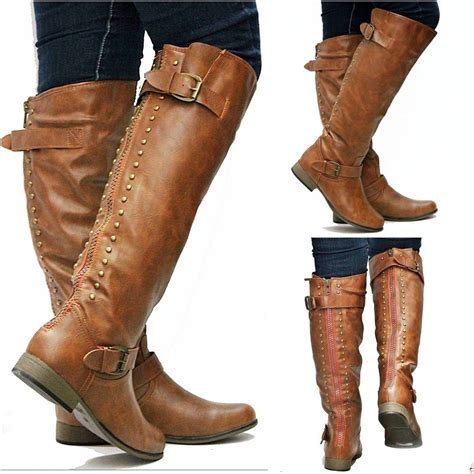 womens knee high boots new womens fl42 zipper studded knee high