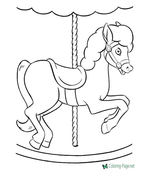 Horse Coloring Pages Merry go round Pony