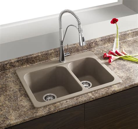 Composite Granite Kitchen Sinks Blanco Silgranit Granite Composite Topmount Kitchen Sink Truffle The Home Depot Canada
