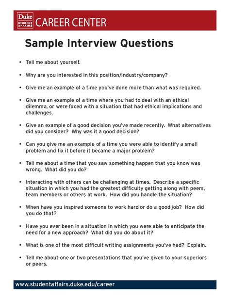 Tell Me About Your Resume Question Career Center Sle Questions Tell Me About Yourself Why Are You Interested In