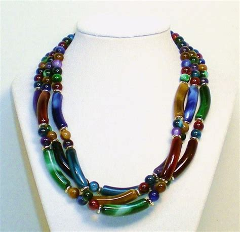 3 strand beaded necklace marbled three strand multi colored beaded necklace